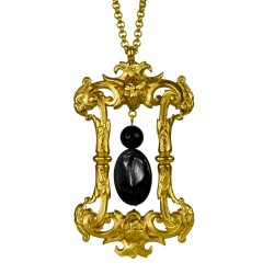 gold plated devil with obsidian and onyx stone pendant