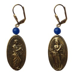 Old gold plated musicien men and women earrings