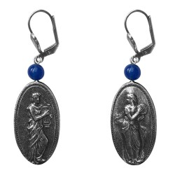 Old silver plated musicien men and women earrings