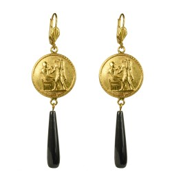 Gold plated egypt medallion with black onyx stone earrings
