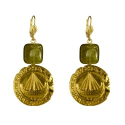 Gold plated boat medallion earrings