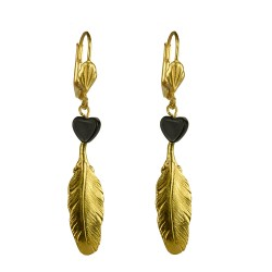 Gold plated feather with black heart earrings