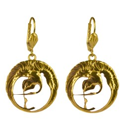 Gold plated white COLD enamel swann earrings