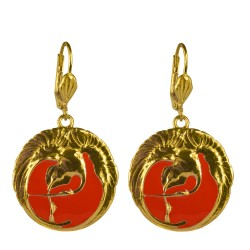 Gold plated red enamel swann earrings