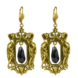 Old gold plated women frame black onyx earrings