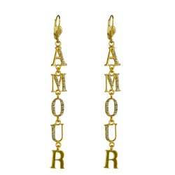 Gold plated amour letter earrings
