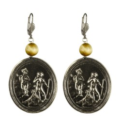 Old silver plated angel medallion earrings