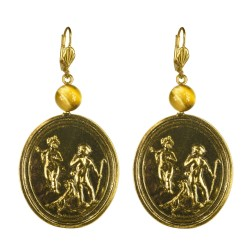 Old gold plated angel medallion earrings