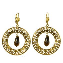 Gold plated creole tiger eye stone earrings