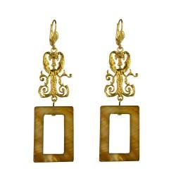 Gold plated rectangular elf  earrings