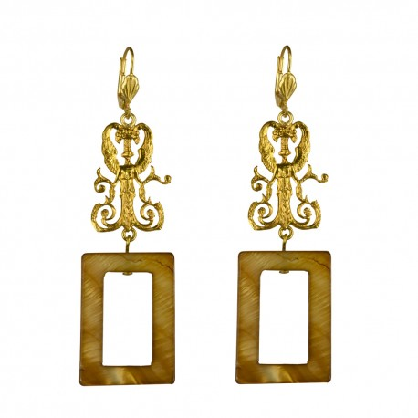 BOUCLES D OREILLES ELFE RECTANGLE DORE