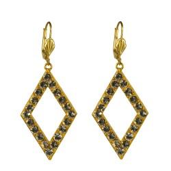 Gold plated diamond shape with white strass earrings