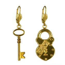 Gold plated key and lock earrings
