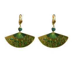 Gold plated green chinese fan earrings