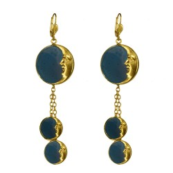 Gold plated blue moon earrings