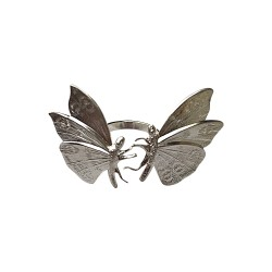 SILVER PLATED 2 BUTTERFLY RING