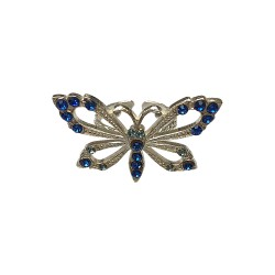 BAGUE PAPILLON ARGENTEE STRASS