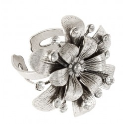 Silvery Daisy Ring WITH WHITE STRASS