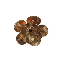 OLD GOLD PLATED FLOWER RING STRASS