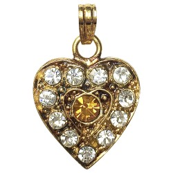 GOLD PLATED HEART WTH YELLOW STRASS PENDANT