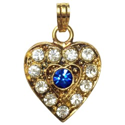 GOLD PLATED HEART WITH BLU STRASS PENDANT