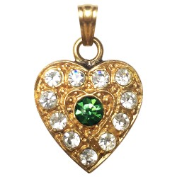 GOLD PLATED HEART WITH GREEN STRASS PENDANT