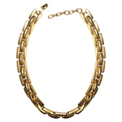 collier maille large dore