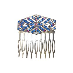 SILVER PLATED ART DECO STRASS COMB