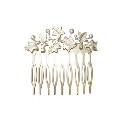 SILVER MAT PLATED IVY BRANCH COMB
