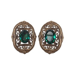 BRONZE FILIGREE WITH GREEN STRASS EARRINGS