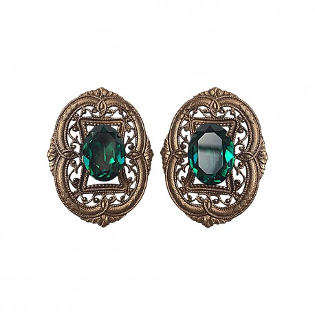 BRONZE FILIGREE WITH GREEN STRASS EARRING