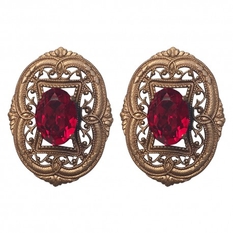 BRONZE FILIGREE WITH RED STRASS EARRING