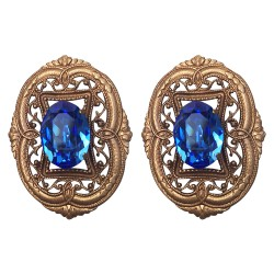 BRONZE FILIGREE WITH BLUE STRASS EARRINGS