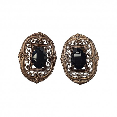 BRONZE FILIGREE BLACK STRASS EARRING
