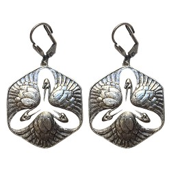 OLD SILVER PLATED SWANN WITH WHITE ENAMEL EARRINGS
