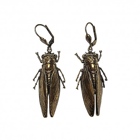 OLD GOLD CICADA EARRING