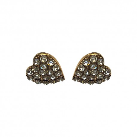GOLD PLATED HEART WITH STRASS STUDS
