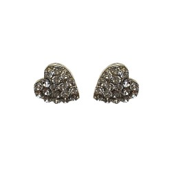 SILVER PLATED HEART WITH STRASS STUDS