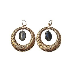 GOLD PLATED HOOPS WITH OBSIDIENNE EARRINGS