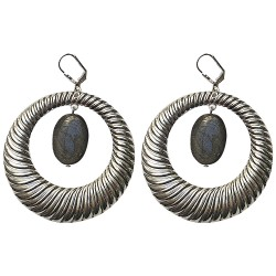 SILVER PLATED HOOPS WITH OBSIDIENNE EARRINGS