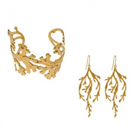Golden Alga (Bracelet + Earings)