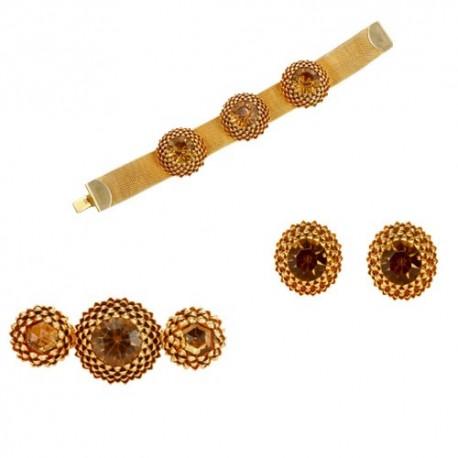 Golden Artichoke (Bracelet + Earings + Brooch)