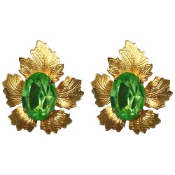 GOLD PLATED VINE LEAVES WITH GREEN SWAROVSKI CRISTAL