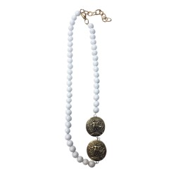 COLLIER LONG JADE BLANC 2 MEDAILLES ANGES VIEIL OR