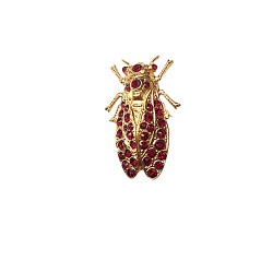 BROCHE CIGALE DOREE ET STRASS ROUGE