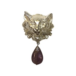 SILVER PLATED FOX WITH STONE BROOCH