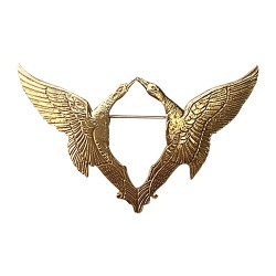 GOLD PLATED DOUBLE BIRDS BROOCH