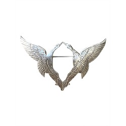 SILVER PLATED DOUBLE BIRDS BROOCH