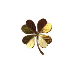 GOLD PLATED CLOVER 4 LEAVES BROOCH