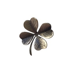 OLD SILVER PLATED 4 CLOVER LEAVES BROOCH